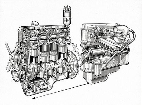 Vierzylinder-Motor für die Fahrzeuge der Neuen Klasse, ab 1962